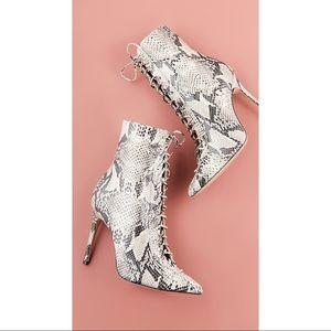 Schutz Anaiya Snake Print Leather Boots